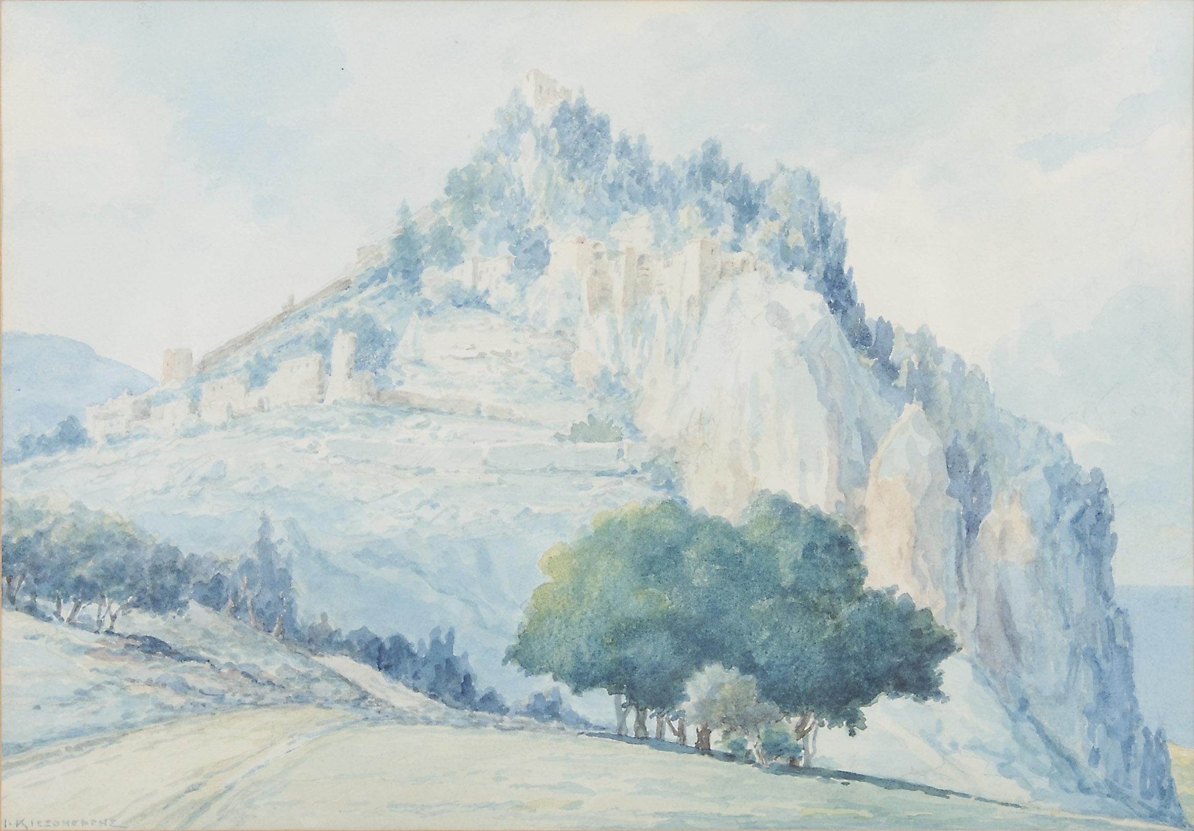 Ioannis Kissonerghis, St Helarion, Watercolour, A G Leventis Gallery, Nicosia